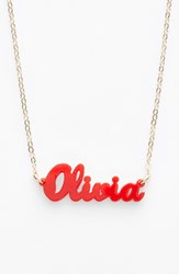 Women's Moon And Lola 'Script Font' Personalized Nameplate Pendant Necklace Ruby Gold