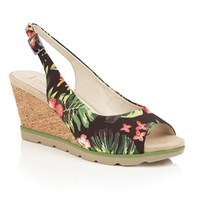 Lotus Nora Peep Toe Wedge Sandals Black