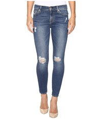 7 For All Mankind The Ankle Skinny W Contour Waist Band In Medium Melrose Medium Melrose Women's Jeans Blue