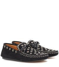 Isabel Marant Foccia Embellished Suede Loafers Black