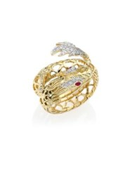 John Hardy Legends Naga Diamond Ruby And 18K Yellow Gold Coil Ring
