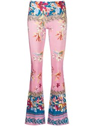 Black Coral Floral Flared Trousers Blue