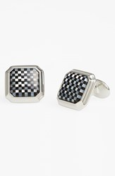 David Donahue Men's Mother Of Pearl And Onyx Cuff Links