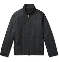 Camoshita Vitale Barberis Canonico Checked Wool Bomber Jacket Gray
