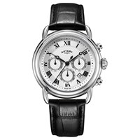 Rotary Men's Canterbury Chronograph Date Leather Strap Watch Black Silver