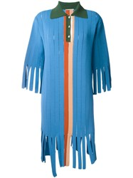 Marco De Vincenzo Fringed Polo Dress Blue