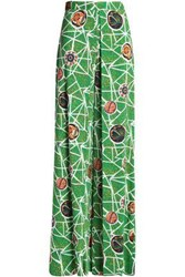 Stella Jean Printed Paneled Crepe Wide Leg Pants Green