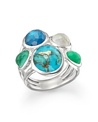 Ippolita Sterling Silver Wonderland 5 Stone Ring In Chrysoprase Multi