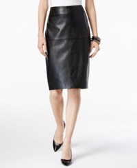 Inc International Concepts Petite Faux Leather Pencil Skirt Only At Macy's Deep Black