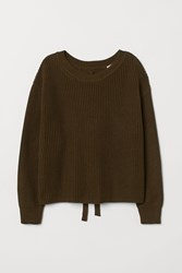 Handm H M Ribbed Sweater With Lacing Green