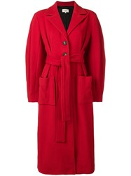 Isa Arfen Belted Long Coat Red