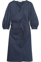 Tibi Belted Cotton Poplin Dress Navy