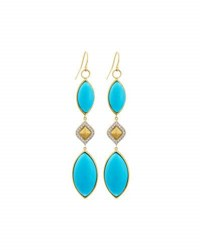 Jude Frances 18K Marquise Turquoise Triple Drop Earrings