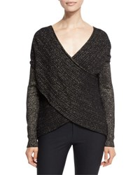 Derek Lam Cross Front Metallic Wool Blend Sweater Black Gold Black Gold