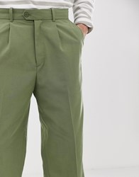 Weekday Colin Trousers In Khaki Green