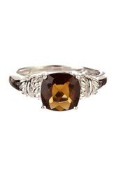 Candela Sterling Silver Brown Cushion Cz Ring