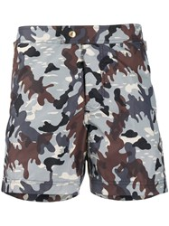 Tom Ford Camouflage Pattern Swimming Shorts Blue