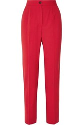 Dolce And Gabbana Wool Blend Straight Leg Pants Red