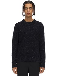 Maison Martin Margiela Melange Wool Blend Knit Sweater Navy