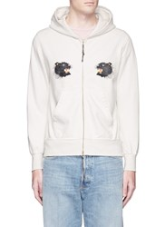 Remi Relief Panther Print Zip Hoodie White