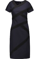 Raoul Marielle Boucle Trimmed Crepe Dress Midnight Blue