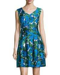 Donna Ricco Floral V Neck Fit And Flare Dress Green Royal Blue