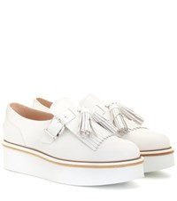 Tod's Leather Platform Loafers White