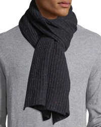 Isaia Cashmere Donegal Scarf Dark Blue