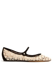 Tabitha Simmons Hermione Point Toe Crochet Flats White Black