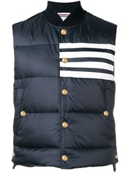 Thom Browne 4 Bar Matte Nylon Down Vest Blue
