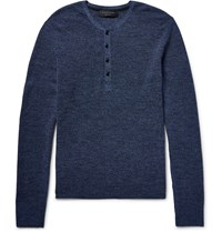 Rag And Bone Garrett Merino Wool Henley T Shirt Blue