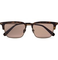 Brioni D Frame Tortoiseshell Acetate And Bronze Tone Sunglasses Brown