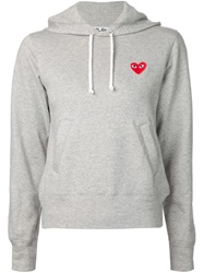 Comme Des Garcons Play Logo Patch Hoodie Grey