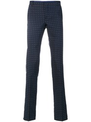 Al Duca D'aosta 1902 Dot Effect Trousers Silk Cotton Blue