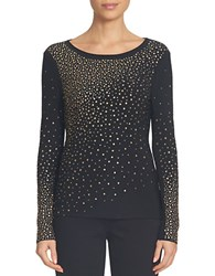 Cece Long Sleeve Ombre Embellished Knit Top Black