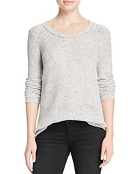 Aqua Cashmere Waffle Knit Raw Edge Cashmere Sweater Grey Donegal