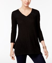 Style And Co Lace Yoke Handkerchief Hem Tunic Only At Macy's Deep Black
