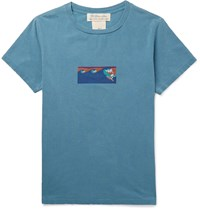 Remi Relief Printed Cotton Jersey T Shirt Blue