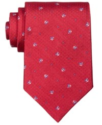 Brooks Brothers Men's Navy Tossed Logo Silk Tie Red