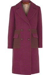 Missoni Houndstooth Wool Blend Coat Purple