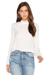 Rebecca Taylor Long Sleeve Georgette And Lace Top White