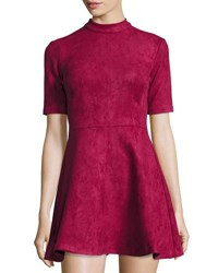 Alexia Admor Mock Neck Faux Suede Fit And Flare Dress Burgundy