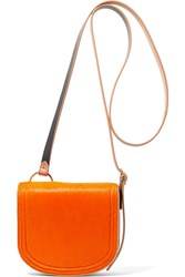 Diane Von Furstenberg Saddle Mini Calf Hair And Leather Shoulder Bag Bright Orange