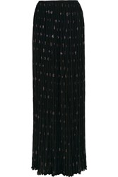 Lanvin Pleated Silk Blend Chiffon And Fil Coupe Maxi Skirt Black
