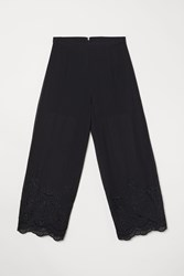 b30d71a6f73 Handm Pants With Eyelet Embroidery Black