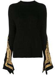 Oscar De La Renta Embroidered Cuffs Jumper Black