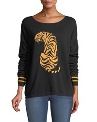 Joan Vass Boat Neck Long Sleeve Sequin Striped Tiger Intarsia Sweater Black