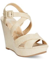 American Rag Rachey Platform Wedge Sandals Only At Macy's Women's Shoes Nude Snake