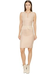 Akris Peplum Cotton Twill And Organza Dress