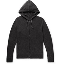 James Perse Slim Fit Baby Cashmere Zip Up Hoodie Charcoal